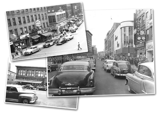 Clockwise from top: A view of Main St., Harrington Corner on Main St., and Shack's on Main St.