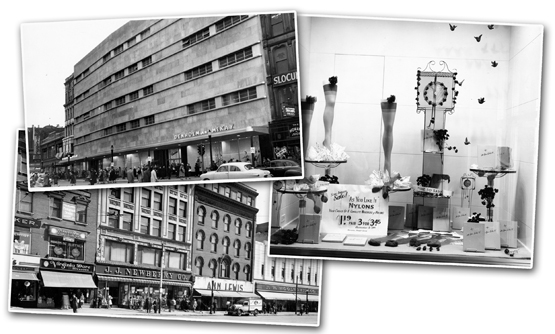 Clockwise from top: Denholm McCay on Main St., a display window at Denholm McCay, and a view of Front Street