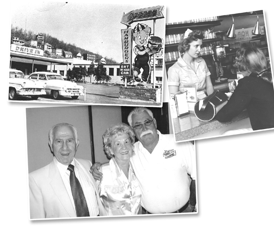 Top left: Speedy's Drive-in; left: George Busada and his wife Marion with Bob Moscoffian; top right: Marion Busada waiting on a customer.