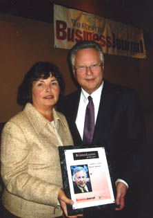 Bernie with wife Benita accepting the 2006 Corporate Citizen Business Leader Award (from The Worcester Business Journal and Clark University)
