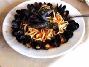 Mussels over Linguini