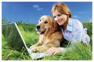 Woman and dog resting on the field and typing on laptop.
