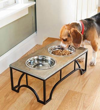 lifestyle-pets-raised-slate-pet-feeder-with-stainless-steel-bowls
